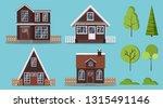 set of isolated rural wooden... | Shutterstock .eps vector #1315491146