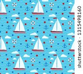 marine cute vector seamless... | Shutterstock .eps vector #1315498160