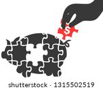 hand picks piggy puzzle piece | Shutterstock .eps vector #1315502519