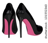 Black High Heel Shoes With Pin...