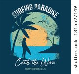 surfer stay and look on ocean... | Shutterstock .eps vector #1315527149
