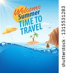 time to travel summer | Shutterstock .eps vector #1315531283