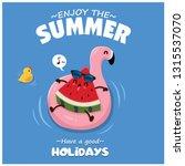 vintage summer poster design... | Shutterstock .eps vector #1315537070