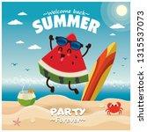 vintage summer poster design... | Shutterstock .eps vector #1315537073