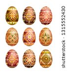 pysanky easter eggs isolated on ... | Shutterstock .eps vector #1315552430
