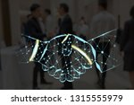 handshake shape writing by... | Shutterstock . vector #1315555979