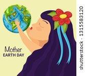 little girl kiss earth. mother... | Shutterstock .eps vector #1315583120