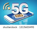 5g white letters standing on a... | Shutterstock . vector #1315603490