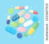 set of pills  medicine  drugs.... | Shutterstock .eps vector #1315607513