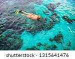 Young Girl In Snorkeling Mask...
