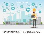 modern factory 4.0  smart... | Shutterstock .eps vector #1315673729