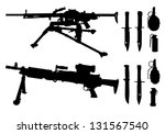 machine guns  knives  grenades   Shutterstock .eps vector #131567540