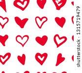 doodle heart seamless pattern.... | Shutterstock .eps vector #1315719479