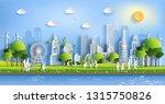 paper art style of landscape... | Shutterstock .eps vector #1315750826