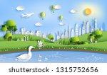 paper art style of landscape...   Shutterstock .eps vector #1315752656