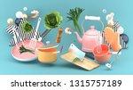 pot  kettle  chopping board ... | Shutterstock . vector #1315757189