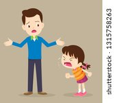 angry child.dad have worry and... | Shutterstock .eps vector #1315758263
