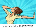 woman gesture no stop. pop art... | Shutterstock .eps vector #1315767653