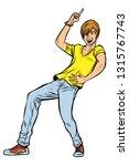 modern young red man dancing.... | Shutterstock .eps vector #1315767743