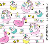 cute unicorn with flamingo... | Shutterstock .eps vector #1315768010