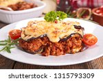 moussaka  beef with eggplant... | Shutterstock . vector #1315793309