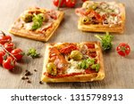 pizza waffle with ham and cheese | Shutterstock . vector #1315798913