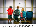 kids waiting for travel looking ... | Shutterstock . vector #1315804913