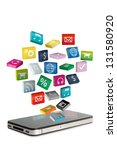 mobile phone with colorful... | Shutterstock . vector #131580920