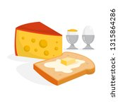 cheese  butter on bread and egg ... | Shutterstock .eps vector #1315864286