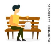 man sitting on the wooden bench.... | Shutterstock .eps vector #1315864310