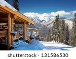 Wooden Ski Chalet In Snow ...