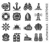 nautical icons set. gray marine ... | Shutterstock .eps vector #1315870403