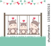 dad mom and baby hippo on swing.... | Shutterstock .eps vector #1315882313
