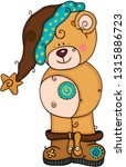cute teddy bear with brown hat... | Shutterstock .eps vector #1315886723