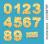 cheese number alphabet set.... | Shutterstock .eps vector #131588789
