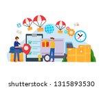 unloading trucks. shipping... | Shutterstock .eps vector #1315893530