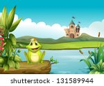 amphibian,animal,blue,cartoon,castle,character,clip art,clip-art,clipart,clouds,crown,cute,drawing,floating,flower