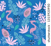 tropical leaves  flamingo and... | Shutterstock .eps vector #1315920950
