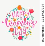 happy women's day card with... | Shutterstock . vector #1315937339