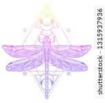 dragonfly over sacred geometry...   Shutterstock .eps vector #1315937936