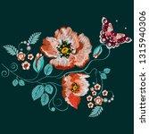 embroidery orange  red poppy ...   Shutterstock .eps vector #1315940306