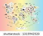 cartoon animal world map for...   Shutterstock .eps vector #1315942520
