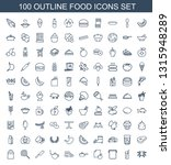 100 food icons. trendy food... | Shutterstock .eps vector #1315948289