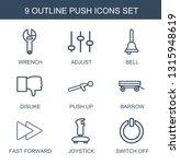 9 push icons. trendy push icons ... | Shutterstock .eps vector #1315948619