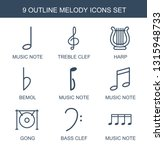 9 melody icons. trendy melody... | Shutterstock .eps vector #1315948733