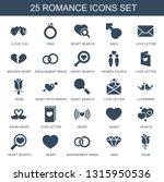 25 romance icons. trendy... | Shutterstock .eps vector #1315950536