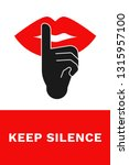 keep silence sign. vertical... | Shutterstock .eps vector #1315957100