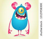 scary one eyed monster cartoon | Shutterstock .eps vector #1315958300