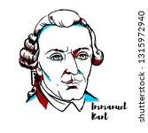 immanuel kant engraved portrait ... | Shutterstock . vector #1315972940
