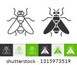 fly black linear and silhouette ...   Shutterstock .eps vector #1315973519